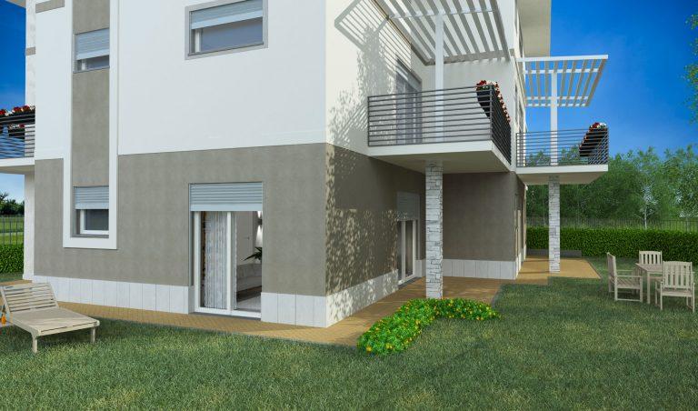 trilocale con giardino privato