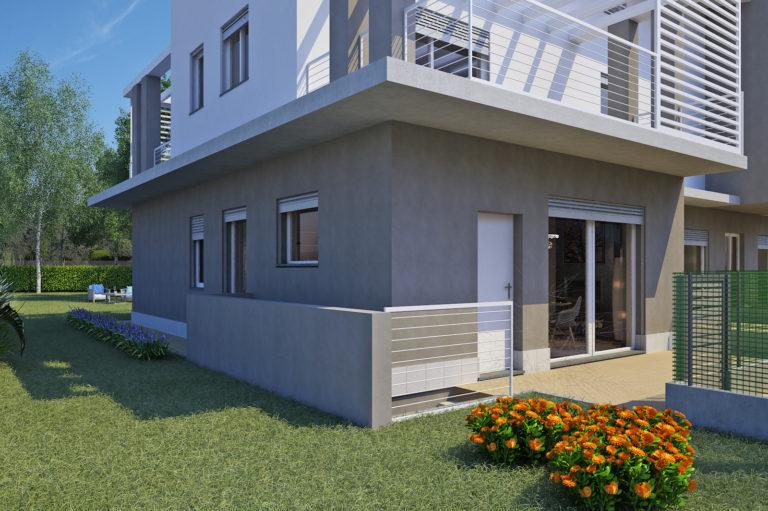 Trilocale piano terra con giardino
